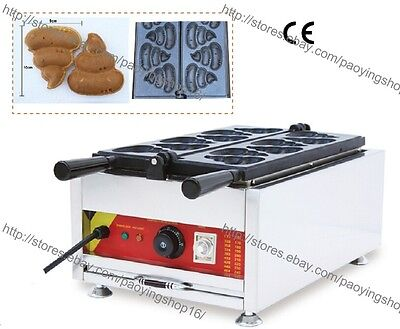 Commercial Nonstick Electric 6pcs Korean Poop Pancake Maker Iron Machine Baker