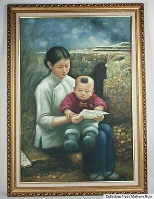 China 20. Jh. Ölgemälde - A Chinese Oil Painting Mother & Child - Cinese Chinois