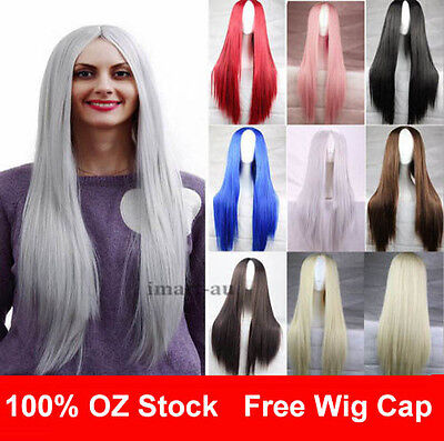 Womens 75cm Long Straight Sleek Synthetic Cosplay Wigs Party Heat Resistant