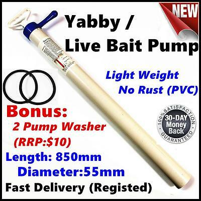 PVC Yabby/Live Bait Fishing Pump - Bonus 2 washers - Light Weight/No Rust
