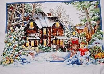 """New Finished Cross Stitch Needlepoint""""Winter Christmas""""Home Wall Decor Gift"""