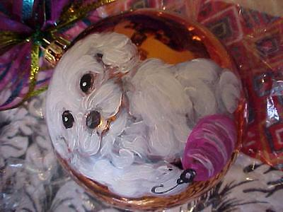 Bichon Frise Puppy Hand Painted Christmas Ornament Lrge