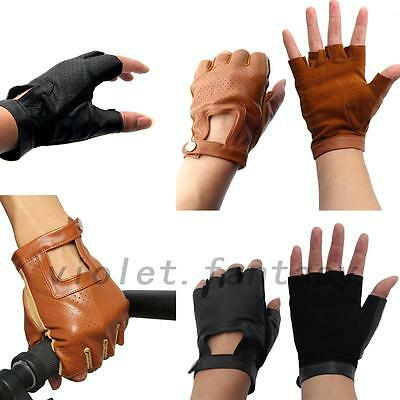 Genuine Leather Sheepskin Fingerless Driving Gloves Motorcycle Bicycle Athletic