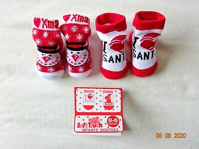Baby Girl Boy Red White Bootee Christmas/xmas Socks Booties Snowflake Reindeer