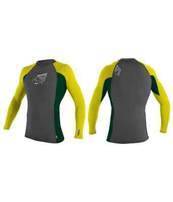 96. ONeill Grey Green Yellow Long Sleeve Rash Vest