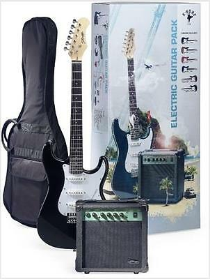 Stagg ESURF 250 Strat tyle Electric Guitar and Amp Pack with Bag/ Tuner (Black)