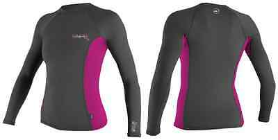 94. ONeill Womens Skins Rash Vest Long Sleeve Graphite Berry Crew