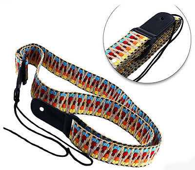 """Psychedelic Rainbow folk woven guitar strap 1.5"""" wide hippy psyche far out"""