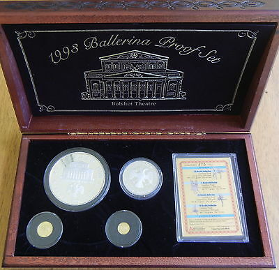 1993 RUSSIA BALLET 4 COINS SET 25 and 3 Rouble SILVER 25 and 10 Rouble Gold COA