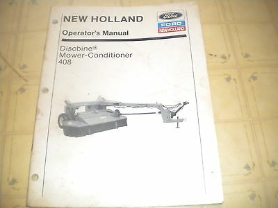 New Holland 408 Discbine Mower conditioner operator manual