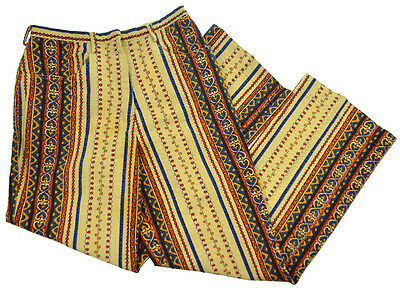Vtg Pants Mod Hippie Disco 60s 70s Groovy Trousers Psychedelic Print UNION MADE