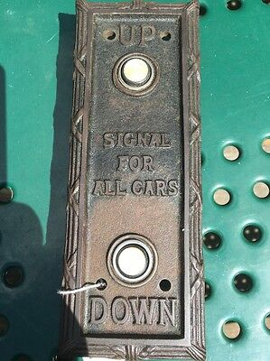 Antique/vintage Early 20Th Century Lobby Elevator Car Call Button Backplate.