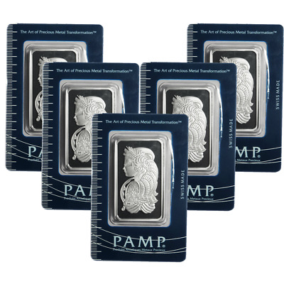 Lot of 5 - 1 Troy oz Pamp Suisse .999 Fine Silver Bar Fortuna