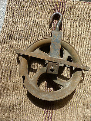 "Old well heavy iron vintage barn rustic primitive Industrial Pulley 10"" Wheel"