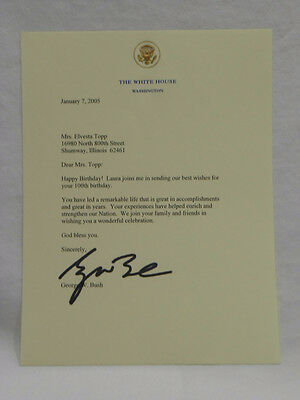 Happy 100th Birthday Letter From George W. Bush Pre-Print Autographed