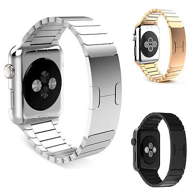 For Apple Watch 38/42mm Stainless Steel Link Bracelet Butterfly Closure iWatch