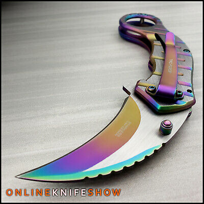 "8"" Rainbow Spring Assisted Open Folding Pocket Knife Karambit Claw Tactical New"