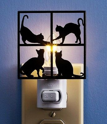 "BRAND NIB Dark Brown Metal ""CURIOUS CATS"" Silhouette NIGHTLIGHT w/ ON/OFF Switch"