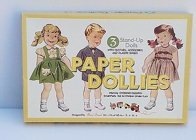 paper dolls set of 3 indoor play activity quiet time fun old fashioned