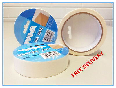 3 ROLLS-PREMIUM WHITE TAPE 25mm x 20M PAINTING PAINTER SCOTCH MASKING CAR HOUSE
