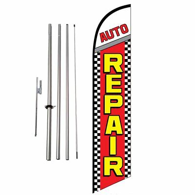 Auto Repair (checkered) 15' Feather Banner Swooper Flag Kit with pole & spike