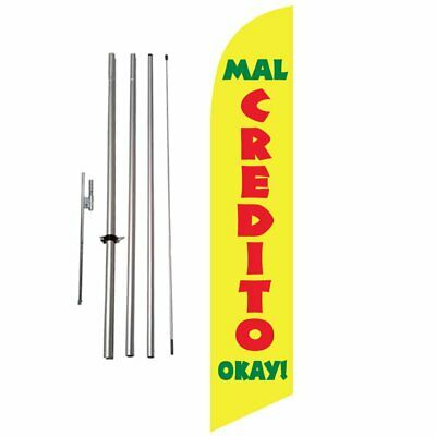 Mal Credit Okay (yellow) 15ft Feather Banner Swooper Flag Kit with pole & spike