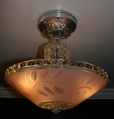 Antique pink glass art deco semi flush light fixture ceiling chandelier 1940s