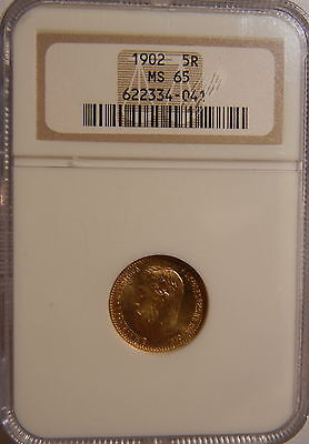 1902 Russia 5 Rouble Gold Ngc Ms65