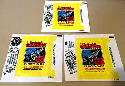 Battlestar Galactica - 10x Wax Card Wrappers - 1978 TOPPS - NO TEARS ETC