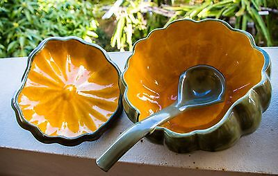 Ceramic pumpkin soup tureen with ladle and 3 bawls set
