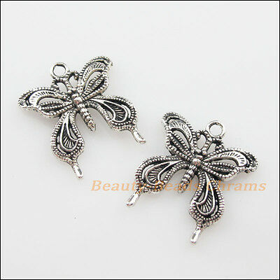 8Pcs Tibetan Silver Tone Lovely Butterfly Animal Charms Pendants 23x26mm