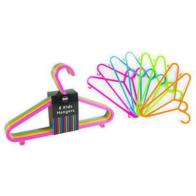 8 x Multicoloured Kids Baby Clothes Hangers Coat Dress Skirt  Space Saver Strong