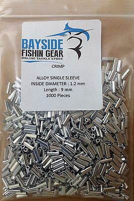 ALLOY CRIMPS 1.2 mm x 9 mm long x 1000 SUIT WIRE & MONO TRACE FISHING LEADER