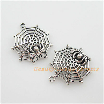 4Pcs Tibetan Silver Tone Halloween Spider Web Charms Pendants 27x30.5mm