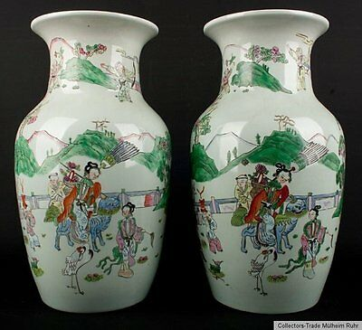 China 19. Jh. Vasen -A Pair of Famille Rose Baluster Vases Chinois Vaso Cinese