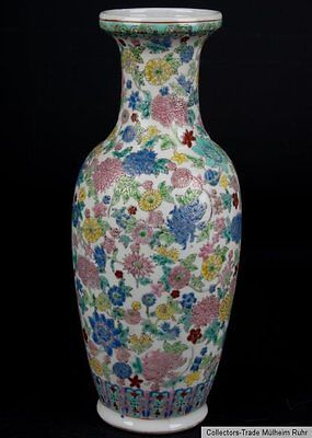 China 20.Jh. A Chinese Famille Rose Millefleur Baluster Vase Vaso Cinese Chinois