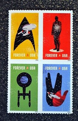 2016USA Forever - Star Trek - Block of 4  space movie  postage stamps