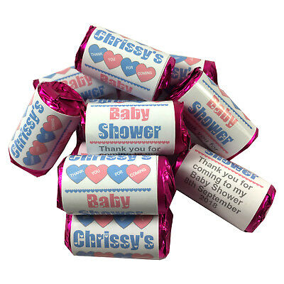 10-50 Personalised Mini Love Hearts Baby Shower Favours Sweets Pink, Blue, Mixed