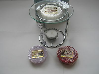 Yankee candle melts x 3 & Silver Tone Metal  Oil/melt Burner with glass dish