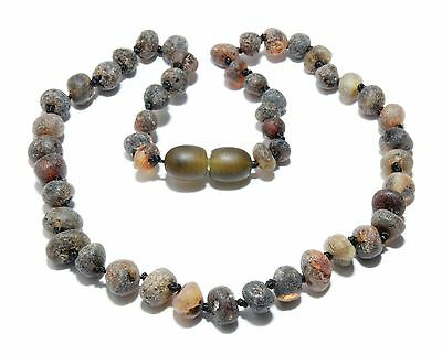 Genuine Raw Baltic Amber Baby Teething Necklace Green Grey 11.8 - 12.6 in