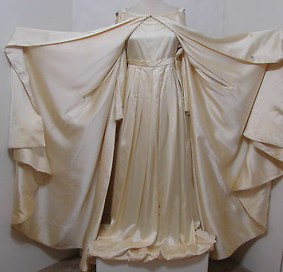 VINTAGE Cream Satin Gown With Cape Custom Made For EDIE ADAMS TV or Stage Worn