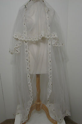"""Vintage White Bridal Tulle Net Embroidered Lace Beaded Tiered Wedding Veil 64"""""""
