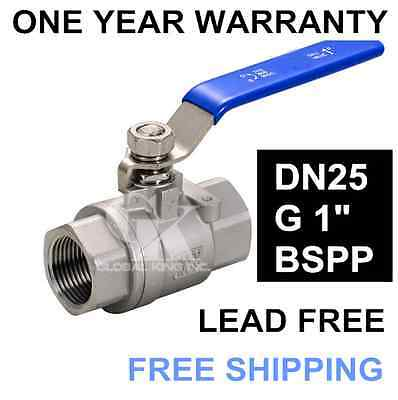 """2PC DN25 G 1"""" Size Female Ports 304 Stainless Steel two-piece Type Ball Valve"""
