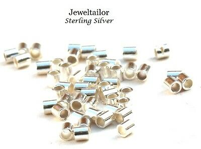 50-200 STERLING SILVER .925 SEAMLESS TUBE CRIMP BEADS 1.5mm JEWELLERY MAKING UK