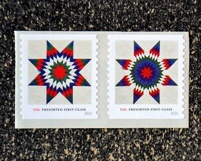 2016USA #5098-5099 25c Star Quilts Presorted First Class  Coil Pair Strip 2 Mint