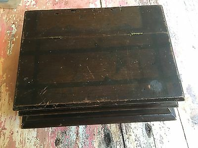Antique Vintage Wooden LETTER BOX CHEST Lap Desk Sewing Hinged Lid
