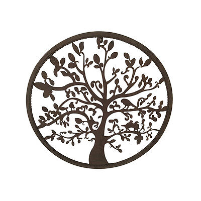 TREE OF LIFE Round Punch Metal Wall Art Rustic 50cm
