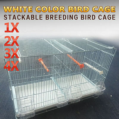 White Color Stackable Breeding Bird Cage for Canary Finch Small Birds