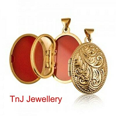 Genuine 9ct 9k Solid Yellow Gold Four Photo Engraved Scroll Oval Shape Locket
