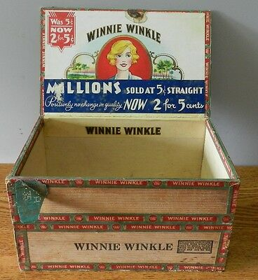 "1930's Vintage ""Winnie Winkle"" wooden cigar box in good condition"